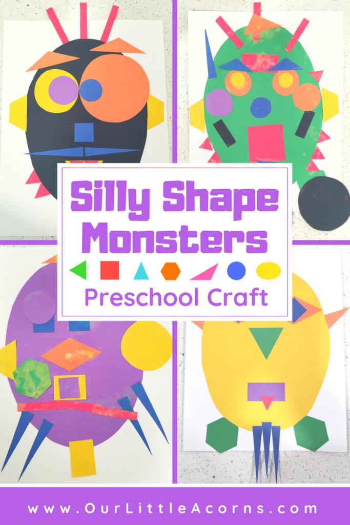 Silly Shape Monster Preschool Craft -